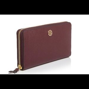 NWT Tory Burch wine/burgundy color wallet.